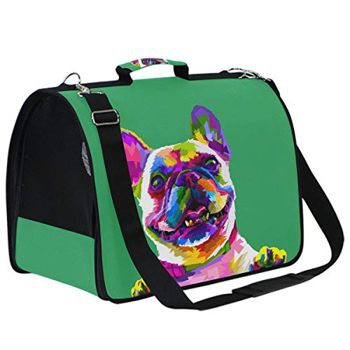 Cat Carriers Dog Carrier Pet Carrier - Colorful French Bulldog Pop Airline Approved Soft Sided Pet Travel Ventilated Carrier