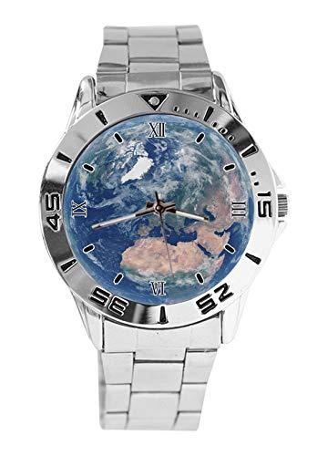 Earth Fashion - Orologio da polso da uomo, stile casual, cinturino in acciaio inox, analogico, al quarzo, orologio da polso