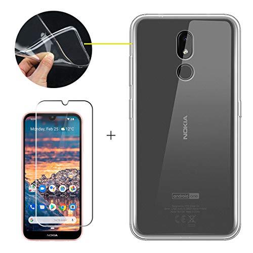 """LJSM Cover per Nokia 3.2 2019 + Pellicola Protettiva in Vetro Temperato - MorbidoSilicone Custodia Trasparente Protettivo TPU Gel Sottile Case per Nokia 3.2 2019 (6.26""""), Clear"""