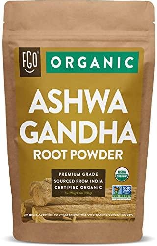 Organic Ashwagandha Root Powder   16oz Resealable Kraft Bag 453g