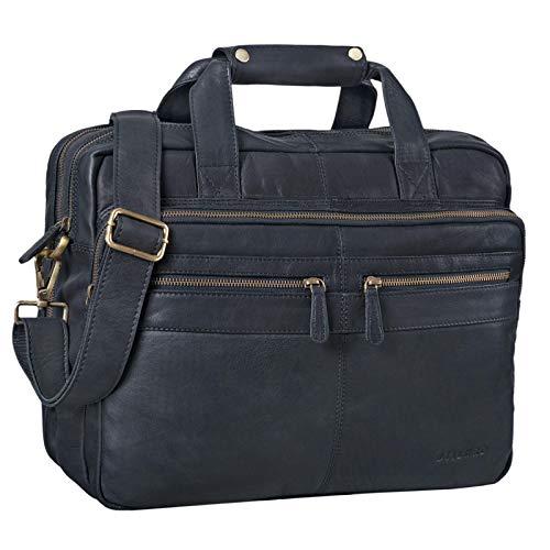 STILORD 'Explorer' Lehrertasche Leder Herren Damen Aktentasche Büro Schulter- oder Umhängetasche für Laptop mit Dreifachtrenner Echt Leder Vintage, Farbe:schwarz