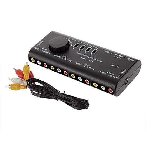Timetided 4 en 1 Salida AV RCA Switch Box AV Audio Video Señal Switcher Splitter Selector de 4 vías con Cable RCA para televisión DVD VCD TV