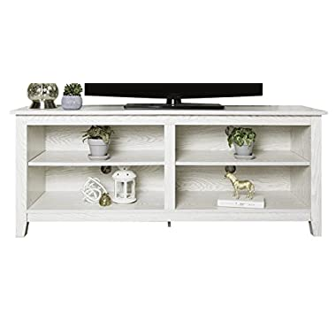 WE Furniture 58  Wood TV Media Stand Storage Console, White