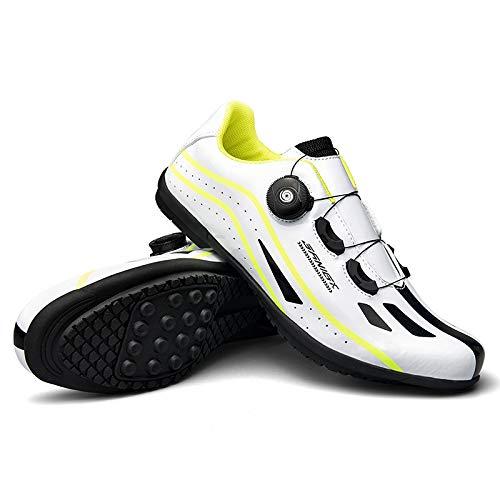 JINFAN Herren Fahrradschuhe,No Lock Indoor Cycling Übung - Atmungsaktiv Komfortabel,White-38EU=(240mm)