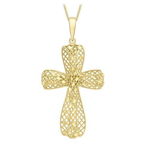 Carissima Gold dameshanger 9 karaat geel mesh kruis hanger op Curb ketting van 46 cm/18 inch 375 geelgoud-1.46.0884