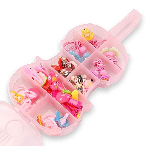Seatecks 30 Stück Elastic Haargummis und süße Mädchen Haarspangen Ohrringe Cartoon Ring Set Mehrfarbige Kopf Haarbänder Seile für Kleinkind Prinzessin Schmuck Kleid Up-Violine Box