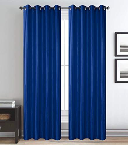 Shine Glans Satijn Ringgordijn - kant-en-klaar gordijn met ringen voor Gordijnroede - Blauw Maat: 270 x 260 cm