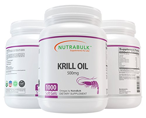 NutraBulk Krill Oil - Supports Heart + Brain + Joint Health - 500 mg Soft Gels - 1000 Count