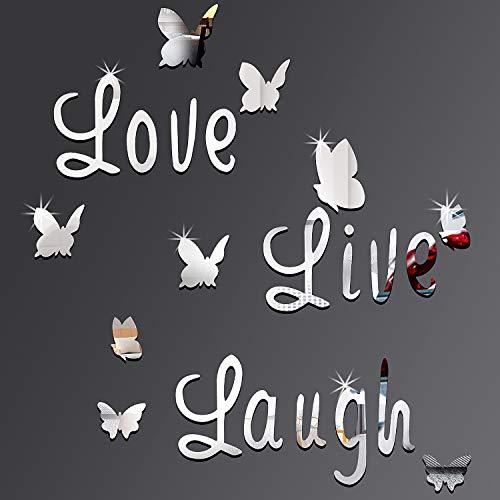 DIY Spiegel Schmetterling Aufkleber Silber Love Live Laugh Schmetterling Wand Buchstaben Schmetterling 3D Spiegel Wand Aufkleber Hause Dekoration Abziehbild