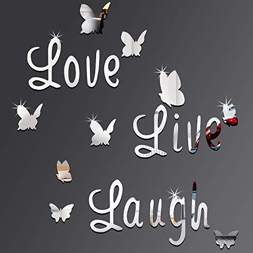 DIY Mirror Butterfly Stickers Silver Love Live Laugh Butterfly Wall Letters Butterfly 3D Mirror Wall Stickers Home Decoration Decal