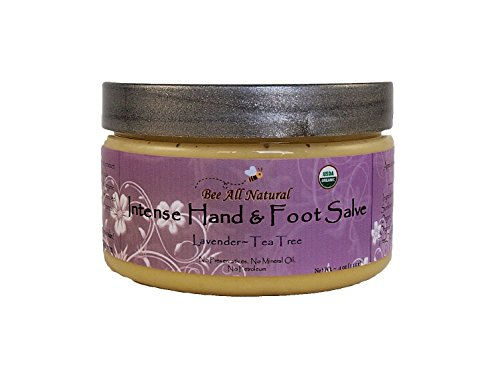Bee All Natural Organic Intense Hand and Foot Salve, 4-Ounce Jar (Lavender & Tea Tree)