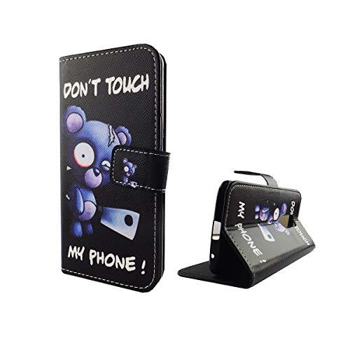 König Design Handyhülle Kompatibel mit ZTE Axon 7 Handytasche Schutzhülle Tasche Flip Hülle mit Kreditkartenfächern - Don't Touch My Phone Bär mit Beil