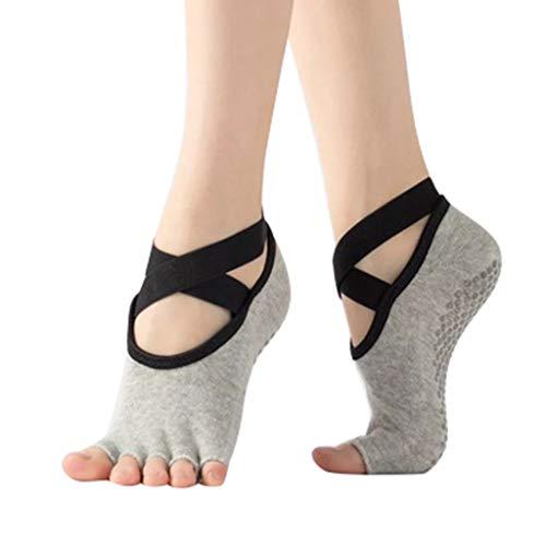 Liusdh damen socken strümpfe Yoga-Socken für und rutschfeste Zehenlose Halbzehensocken für den Balletttanz(E,kostenlos)