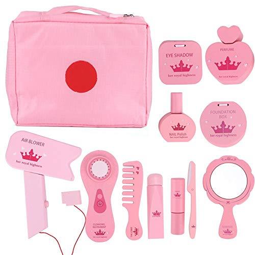 Qiilu make-up speelgoed, draagbare houten roze simulatie kaptafel cosmetische en make-up accessoires Game Kit meisjes cosmetische set cadeau