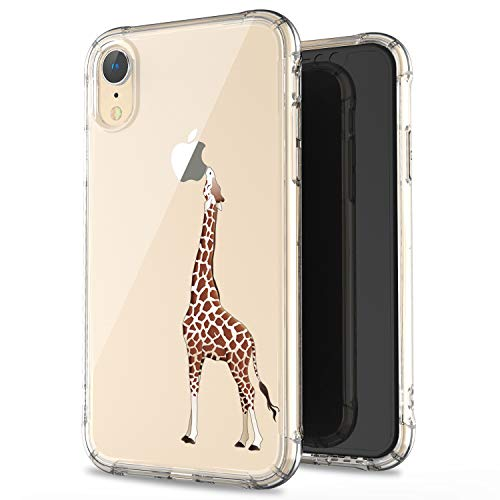 JAHOLAN Compatible iPhone XR Case Clear Cute Amusing Whimsical Design Brown Eating Giraffe Flexible Bumper TPU Soft Rubber Silicone Cover Phone Case for iPhone XR 2018 6.1 inch
