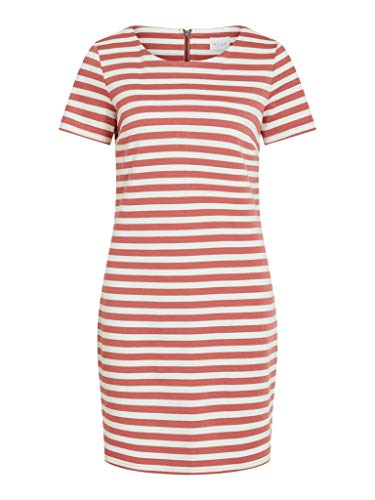 Vila Damen VITINNY New S/S NOOS Casual Dress, Dusty Cedar Stripes:Snow White H/H, M