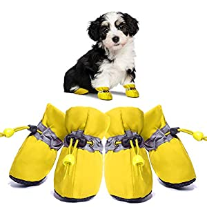 Dog Boots Anti-Slip Shoes Paw Protector Summer Hot Pavement for Small Medium Dogs and Puppies 4PCS (Yellow/4)