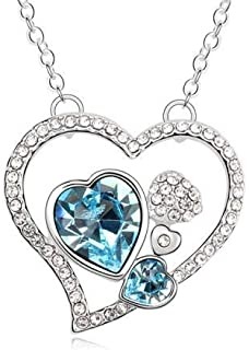 Swarovski Elements 18K White Gold Plated Necklace encrusted with Blue Swarovski Crystals, SWR-385