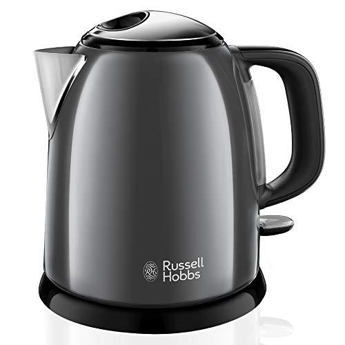 Russell Hobbs Mini-Wasserkocher Colours+ grau, 1,0l, 2400W, Schnellkochfunktion, herausnehmbarer Kalkfilter, optimierte Ausgusstülle, kleiner Reisewasserkocher, kompakter Teekocher 24993-70
