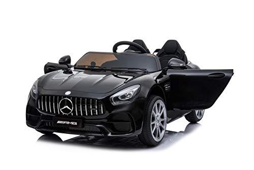 ES-TOYS Bambini Auto elettrica Due posti Mercedes AMG GT GT GT Nero Eva Pneumatici in Pelle Eva Sedile Radio