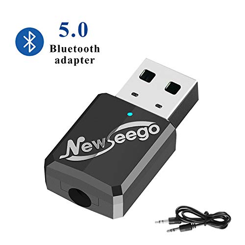 Newseego Bluetooth 5.0 Trasmettitore Ricevitore 2 in 1, Trasmettitore Bluetooth Adattatore Wireless per TV PC Cuffie, Audio Bluetooth Adattatore Portatile Wireless per Auto/Home Streaming Audio
