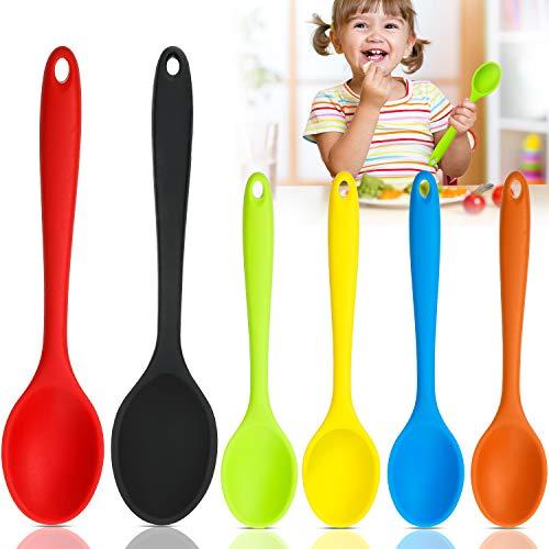 6 Pezzi Set di Cucchiaio di Silicone per Mescolare , Cucchiai da Cucina Antiaderenti Cucchiai da Servizio in Silicone Resistente al Calore Cucchiai per Mescolare per Cucinare, Grande e Piccolo