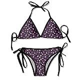 Triángulo Bikini Trajes de baño Primavera Noche Sakura Yozakura Patrón sobre Fondo Nocturno Conjuntos de Bikini Traje de baño de Playa Traje de baño