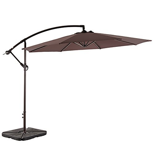 AMT Deluxe Adjustable Offset Cantilever Hanging 10' Patio Umbrella Cross Base Crank, Coffee