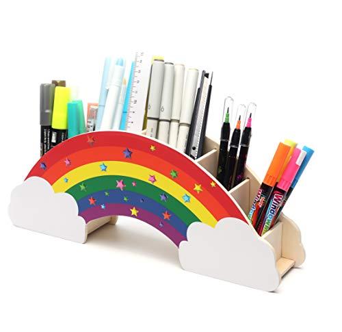 EXERZ Regenbogen Schreibtisch Organizer Mit Sternaufklebern Für DIY Kreativ Dekoration, Ordentlicher Schreibtisch, Büromaterial, Schreibwaren Für Studenten, Aufbewahrung, Stifthalter – Arbeitsplatz
