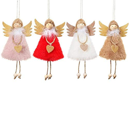 aneralied 4 Pcs Christmas Ornaments Plush Angel Doll Cute Doll Christmas Tree Pendant Hanging Ornaments for Christmas Decoration Crafts