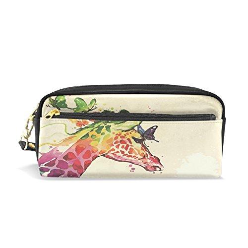 Eslifey Waterfolor Girafe Papillon Floral Pochette portable en similicuir Sac à crayons Imperméable Cosmétique Maquillage Beauté