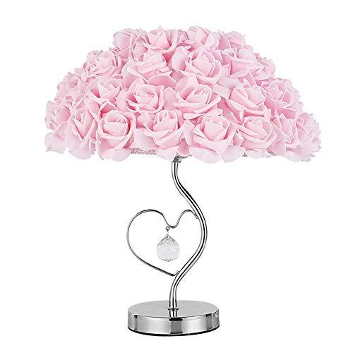 Lámpara Escritorio Cálido romántico personalidad creativa rosa rosa lámpara espejo dormitorio lámpara lámpara de mesa de cristal base de metal mesita de noche lámpara de espejo lámpara de mesa ajustab