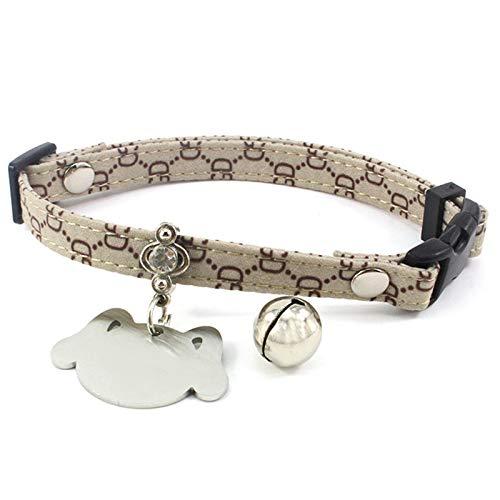 Aeici Katzenhalsband Stoff Halsband für Katzen Blechbuchstabe Gd Khaki XS