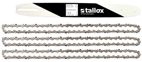 """tallox Schwert und 3 Sägeketten 3/8\"""" 1,3 mm 57 TG 40 cm Führungsschiene kompatibel mit Bosch Dollmar Hitachi Echo Makita Husqvarna und andere"""