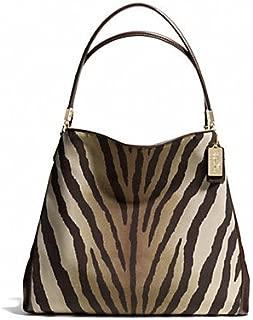 Coach Madison Zebra Print Small Phoebe Shoulder Bag 26637 Light Gold/Brown Multi