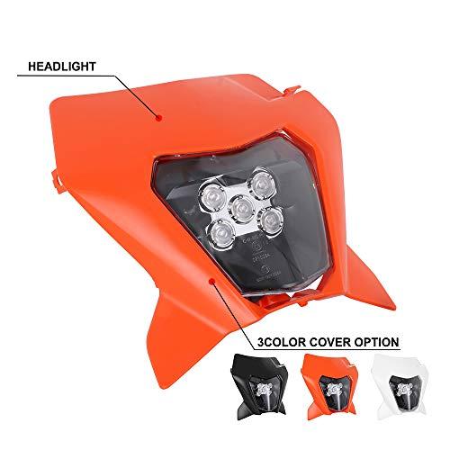 Faro a LED per moto Faro anteriore per K.T.M. EXC EXCF SX SXF XC XCF XCW XCFW 125 150 250 300 350 400 450 505 525 530 (arancia)