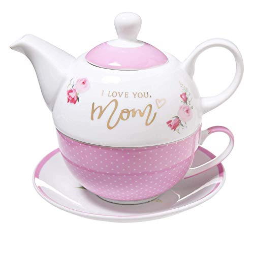 Ceramic Teapot Set I Love You Mom Proverbs 31:29 Pink Flowers Tea For One Set with Tea Cup and Saucer For Women