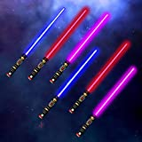 IQ Toy Light Up Saber Swords Kids - LED Flashing Lights, Sounds Sword, Party Favor, 6 Pack