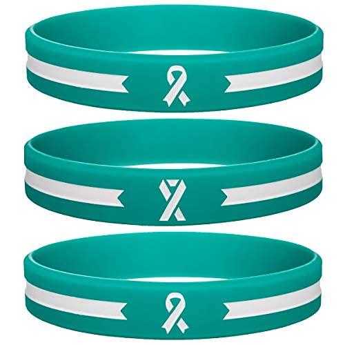 Pulsera motivacional de silicona con cinta de conciencia de color verde azulado – Cinta inspiradora y cáncer y causa de caucho..