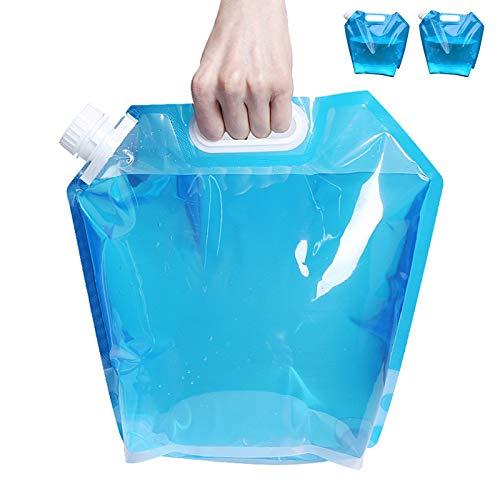 LEcylankEr 2 bidones de agua plegables de 10 l, recipiente de agua potable reutilizable para deportes, camping, senderismo, picnic, barbacoa, exterior coche (azul)