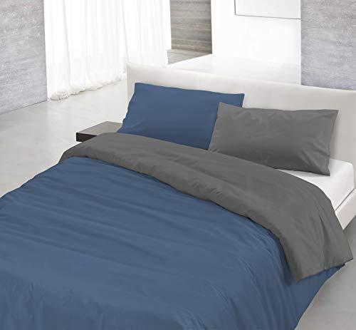 Italian Bed Linen Natural Color Parure Copripiumino con Sacco e Federe, 100% Cotone, Avio/Fumo, Matrimoniale, 250 x 200 cm, 3 unità