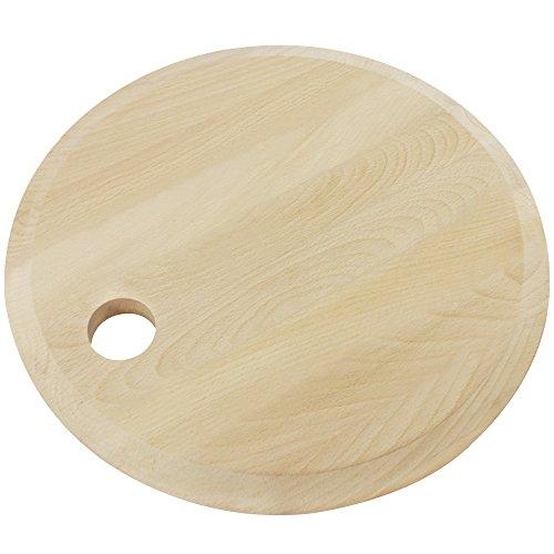 com-four® 1x rundes Holzschneidebrett, Schneidbrett aus Buchenholz mit Griffloch zum Aufhängen, Servierbrett für Vesperplatten (01 Stück - 30 cm - Buche)