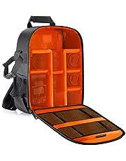 Neewer® flexibele scheidingswand camera gewatteerde rugzak tas stoot-insert bescherming voor SLR DSLR spiegelloze camera's en lenzen, flitslicht, draadloze ontspanner en andere accessoires (oranje interieur)