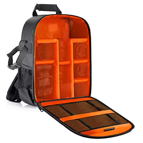 Neewer® - Zaino imbottito per fotocamera SLR DSLR, senza specchio, per fotocamera, flash, telecomando e altri accessori (interno arancione)