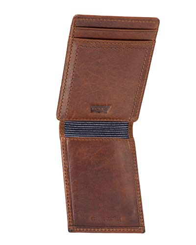 Levi's Men's Slim Front Pocket Wallet With Money Clip,Brown,One Size