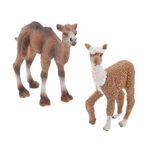 Fliyeong 2 Stücke Realistische Tier Kamel Alpaka Modell Action-Figuren Spielset Kinder Pädagogisches Spielzeug Geschenk Langlebig und Nützlich
