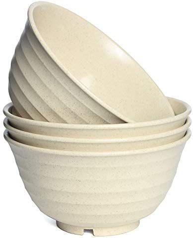 Unbreakable Large Cereal Bowls 30 OZ Wheat Straw Fiber Lightweight Bowl Sets 4 Dishwasher and product image