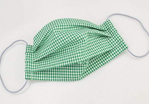 Mund- & Nasenmaske - Grün-Weiß kariert - Baumwollmaske