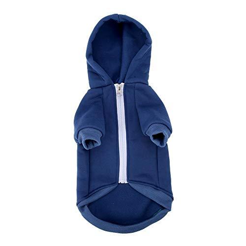 Fdit Hundebekleidung Pullover Zip-up Hoodie Niedliche Hund Katze Welpen Hoodies Klassische warme Strickjacke Schneemann Elk für Silvester Weihnachtsfest (XL-Blau)