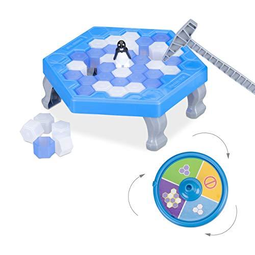 Relaxdays Pingüinos Juego de Mesa, Rompehielo, Juguete Niños a Partir de 3 Años, 2-4 Jugadores, Plástico, 1 Ud., Azul